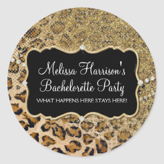 Tan Gold Leopard Animal Print Glitter Look Classic Round Sticker