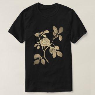 Tan Gold Look Rose Vine Floral Motif T-Shirt