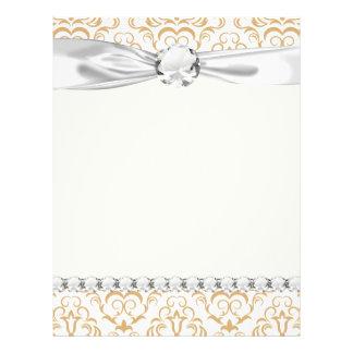 tan gold on white ornate damask pattern flyer