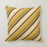 [ Thumbnail: Tan, Goldenrod, and Black Lines/Stripes Pattern Throw Pillow ]