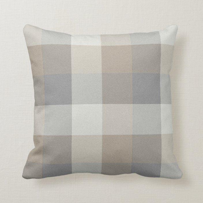 Tan, Gray, and Ivory Plaid Throw Pillow | Zazzle.com