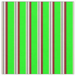 [ Thumbnail: Tan, Gray, White, Maroon & Lime Stripes Pattern Fabric ]