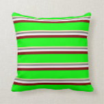 [ Thumbnail: Tan, Gray, White, Maroon & Lime Stripes Pattern Throw Pillow ]
