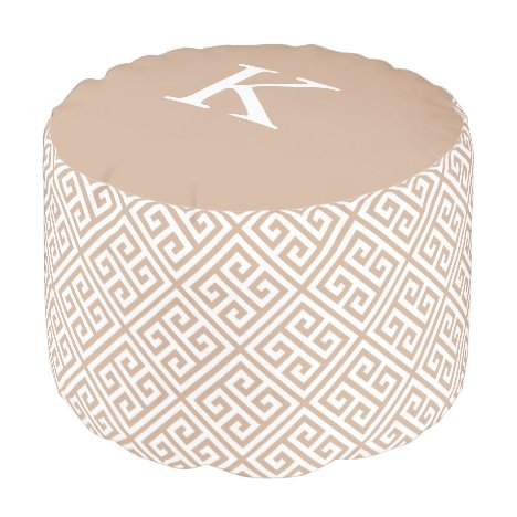 Tan Greek Key | Round Pouf