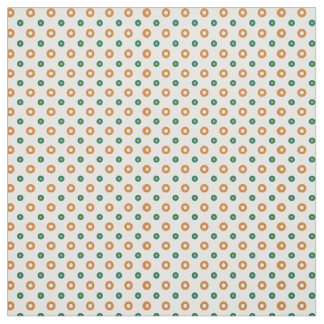 Tan, Green and Teal on Cream Polka Dots Pattern Fabric