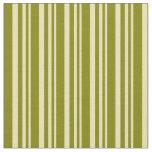 [ Thumbnail: Tan & Green Colored Lines Fabric ]