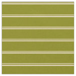 [ Thumbnail: Tan & Green Colored Stripes Pattern Fabric ]