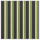 [ Thumbnail: Tan, Green, Dark Goldenrod, Bisque & Black Colored Fabric ]