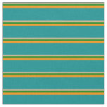 [ Thumbnail: Tan, Green, Dark Orange, and Dark Cyan Lines Fabric ]