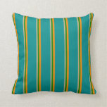 [ Thumbnail: Tan, Green, Dark Orange, and Dark Cyan Lines Throw Pillow ]