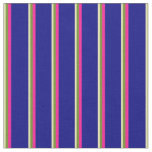 [ Thumbnail: Tan, Green, Deep Pink, and Blue Stripes Fabric ]