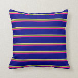 [ Thumbnail: Tan, Green, Deep Pink, and Blue Stripes Pillow ]