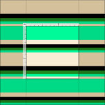 [ Thumbnail: Tan, Green, Forest Green, and Black Colored Lines Fabric ]