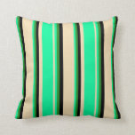 [ Thumbnail: Tan, Green, Forest Green, and Black Colored Lines Throw Pillow ]