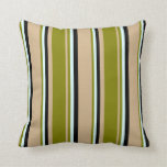 [ Thumbnail: Tan, Green, Light Cyan, and Black Pattern Pillow ]