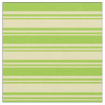 [ Thumbnail: Tan & Green Lines Pattern Fabric ]
