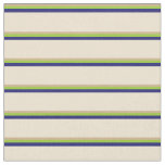 [ Thumbnail: Tan, Green, Midnight Blue & Beige Colored Lines Fabric ]