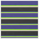 [ Thumbnail: Tan, Green, Midnight Blue, Black, and White Lines Fabric ]