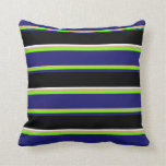 [ Thumbnail: Tan, Green, Midnight Blue, Black, and White Lines Throw Pillow ]