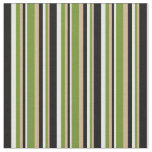 [ Thumbnail: Tan, Green, Mint Cream, and Black Stripes Pattern Fabric ]