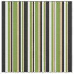 [ Thumbnail: Tan, Green, Mint Cream, and Black Stripes Pattern Fabric ]