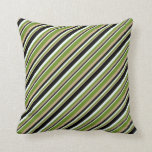 [ Thumbnail: Tan, Green, Mint Cream, and Black Stripes Pattern Throw Pillow ]