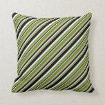 [ Thumbnail: Tan, Green, Mint Cream, and Black Stripes Pattern Throw Pillow ]