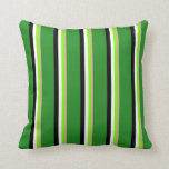 [ Thumbnail: Tan, Green, White, Black, and Forest Green Colored Throw Pillow ]