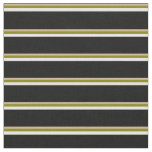 [ Thumbnail: Tan, Green, White & Black Lines/Stripes Pattern Fabric ]