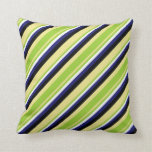 [ Thumbnail: Tan, Green, White, Midnight Blue & Black Colored Throw Pillow ]