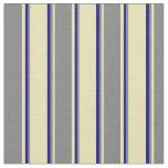 [ Thumbnail: Tan, Grey & Dark Blue Colored Pattern Fabric ]