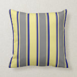 [ Thumbnail: Tan, Grey & Dark Blue Colored Pattern Throw Pillow ]