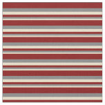 [ Thumbnail: Tan, Grey & Maroon Colored Lined Pattern Fabric ]