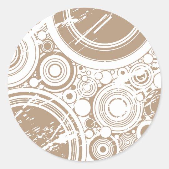Tan Grunge Circles: Vector Art: Classic Round Sticker