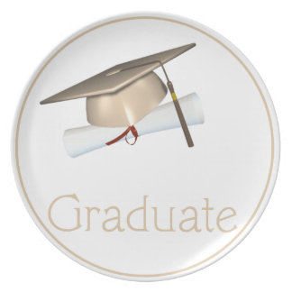 Tan Hat with Diploma Graduate Dinner Plate