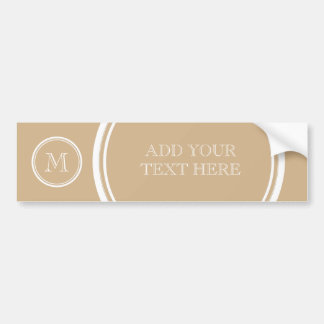 Tan High End Colored Monogrammed Car Bumper Sticker