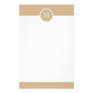 Tan High End Colored Monogrammed Stationery