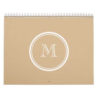 Tan High End Colored Monogrammed Wall Calendars