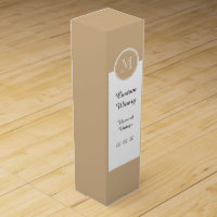 Tan High End Colored Monogrammed Wine Gift Box