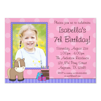 Tan Horse Pink Polka Dots Photo Birthday Party 5x7 Paper Invitation Card