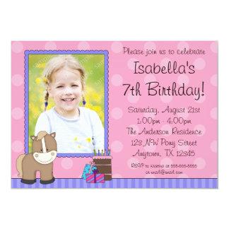 Tan Horse Pink Polka Dots Photo Birthday Party Card