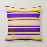 [ Thumbnail: Tan, Indigo, and Goldenrod Lined/Striped Pattern Throw Pillow ]