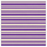 [ Thumbnail: Tan & Indigo Colored Pattern of Stripes Fabric ]
