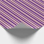 [ Thumbnail: Tan & Indigo Colored Pattern of Stripes Wrapping Paper ]