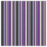 [ Thumbnail: Tan, Indigo, Light Slate Gray & Black Pattern Fabric ]