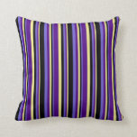 [ Thumbnail: Tan, Indigo, Slate Blue, and Black Colored Lines Throw Pillow ]