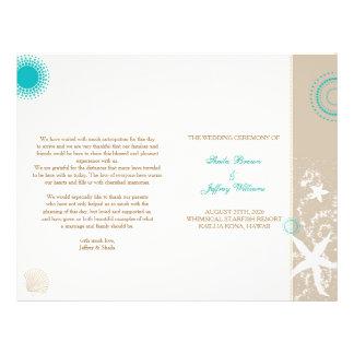 Tan Ivory Teal Beach Wedding Program (BiFold)