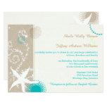 Tan Ivory Teal Modern Beach Wedding Card at Zazzle
