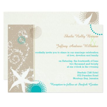Beach Themed Tan Ivory Teal Modern Beach Wedding Card