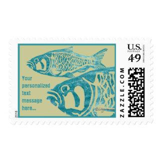Tan Khaki Blue Fish Lino Block Custom Stamps
